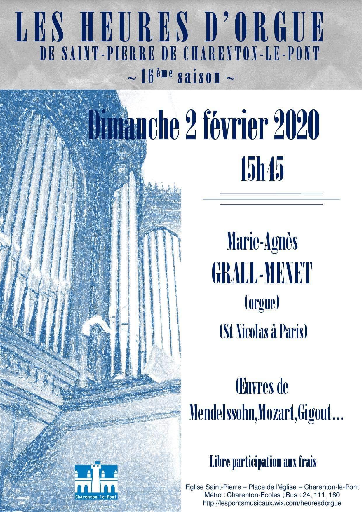 Prochaines heures d'orgue : dimanche 2 février à 15h45
