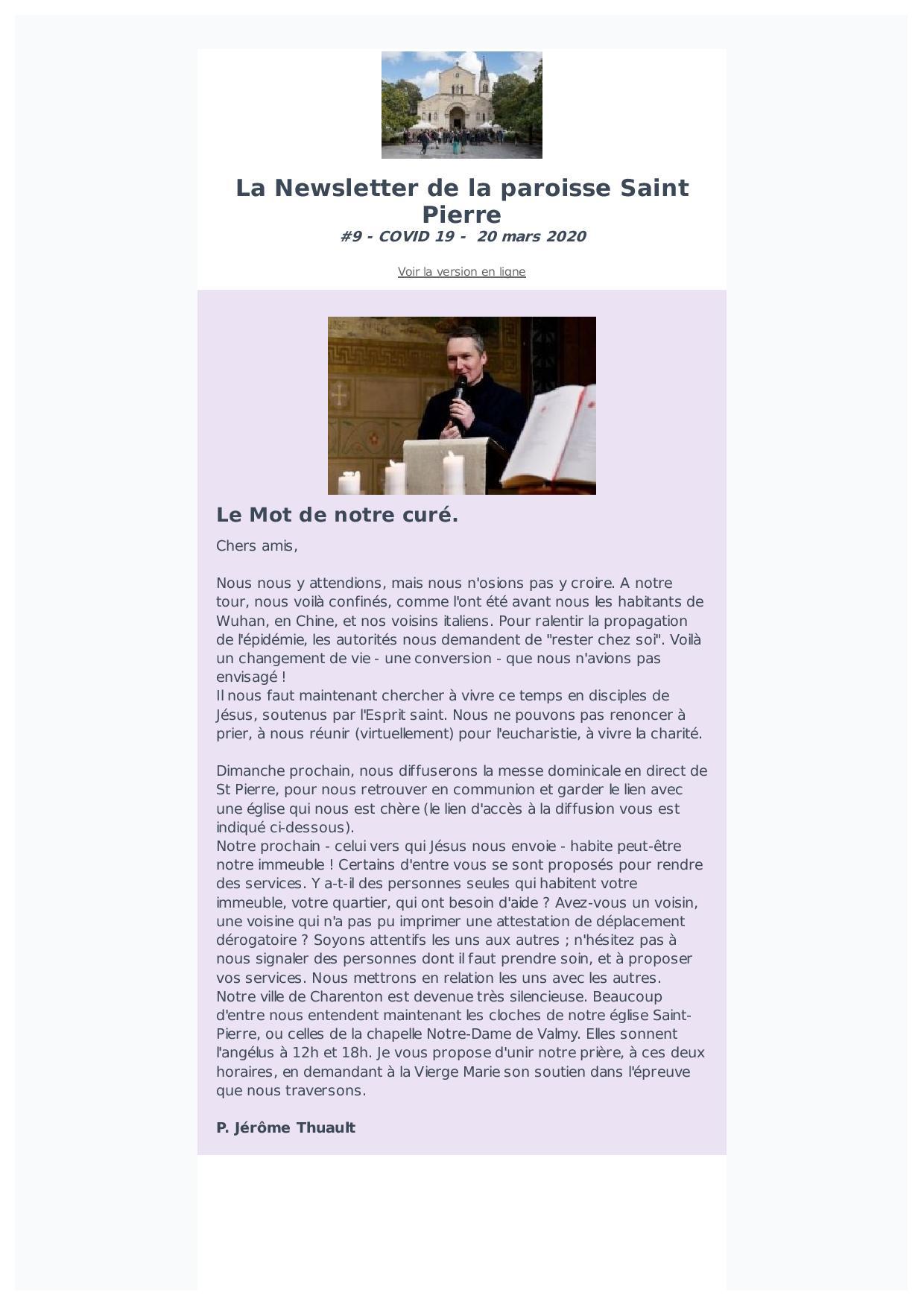 Newsletter #9 – 20 mars 2020