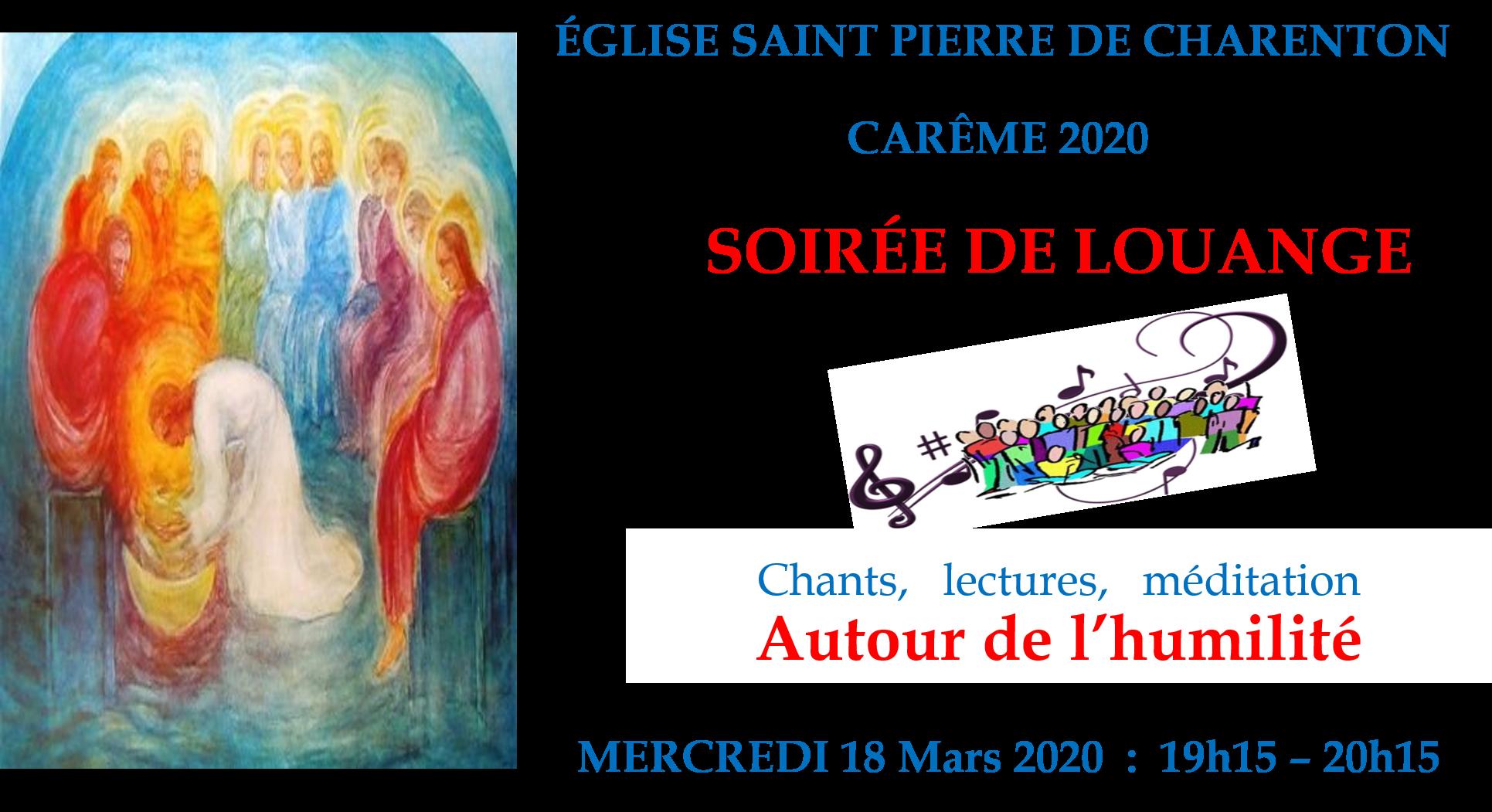 Mercredi 18 mars de 19h15 à 20h15 à l'église St Pierre Soirée de Louange