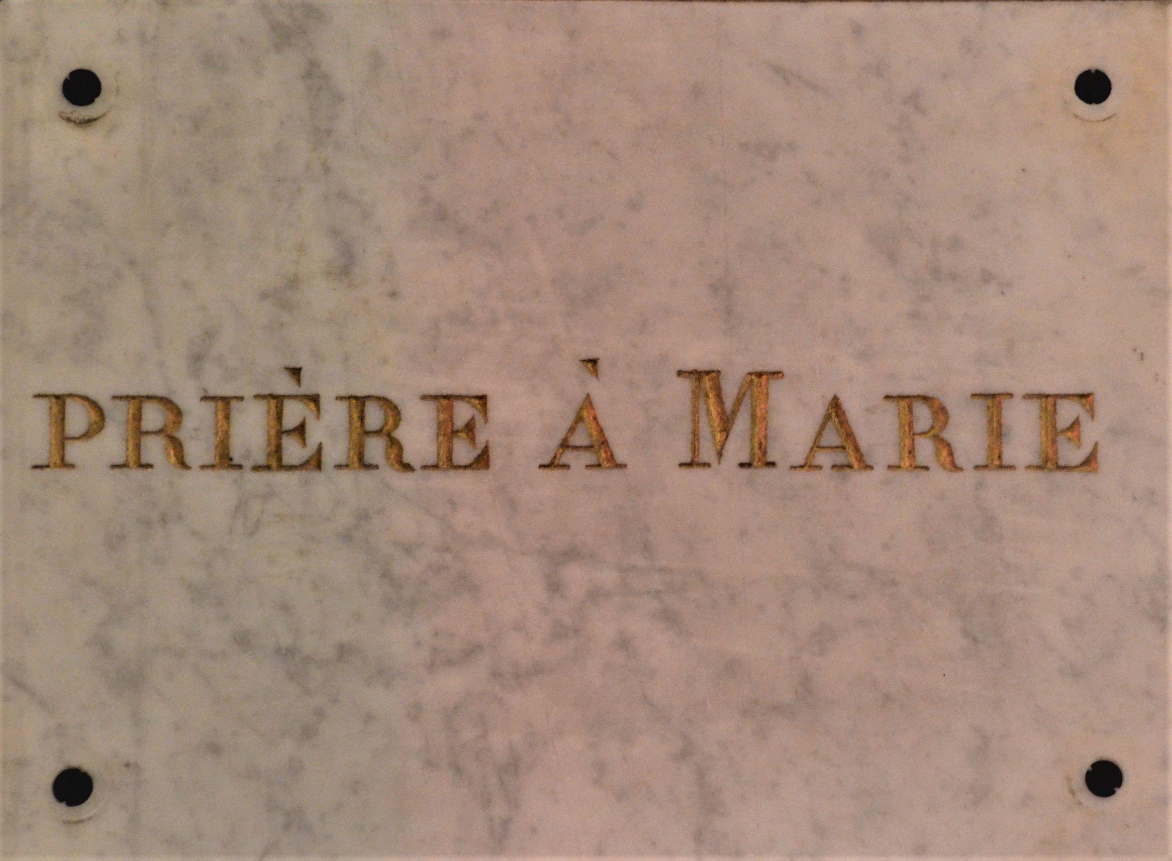 Prière à Marie : Ex Voto de l'Eglise Saint Pierre de Charenton