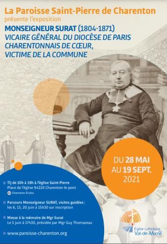 """A partir du 28 mai venez découvrir l'exposition """"Monseigneur Surat,  charentonnais de coeur, victime de la Commune."""""""